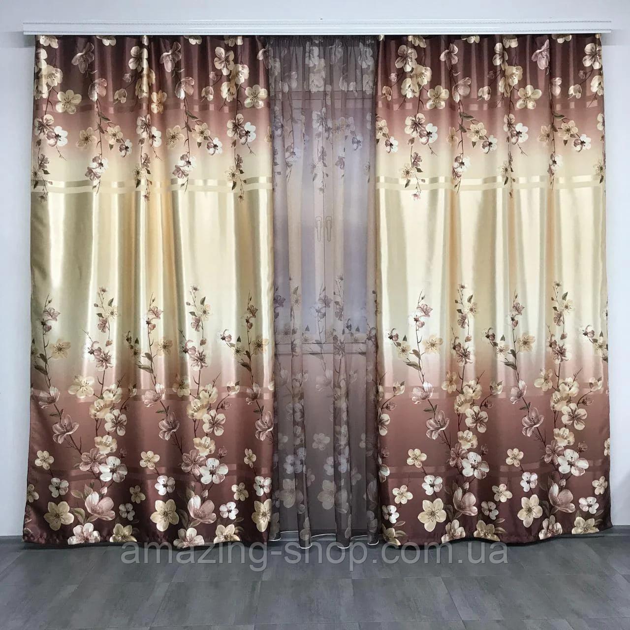 Готовий набір на вікно, штори і тюль Комплект атласний штор з тюлем батист Штори і тюль в квіти