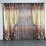 Готовий набір на вікно, штори і тюль Комплект атласний штор з тюлем батист Штори і тюль в квіти, фото 2