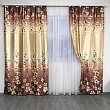Готовий набір на вікно, штори і тюль Комплект атласний штор з тюлем батист Штори і тюль в квіти, фото 7