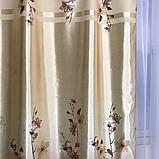 Готовий набір на вікно, штори і тюль Комплект атласний штор з тюлем батист Штори і тюль в квіти, фото 5
