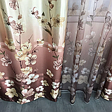 Готовий набір на вікно, штори і тюль Комплект атласний штор з тюлем батист Штори і тюль в квіти, фото 3