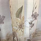 Готовий набір на вікно, штори і тюль Комплект атласний штор з тюлем батист Штори і тюль в квіти, фото 6