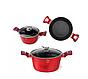 Набір посуду з мармуровим покриттям Bohmann BH 40 - Red/Black, фото 4