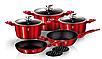 Набір посуду з мармуровим покриттям Bohmann BH 40 - Red/Black, фото 5