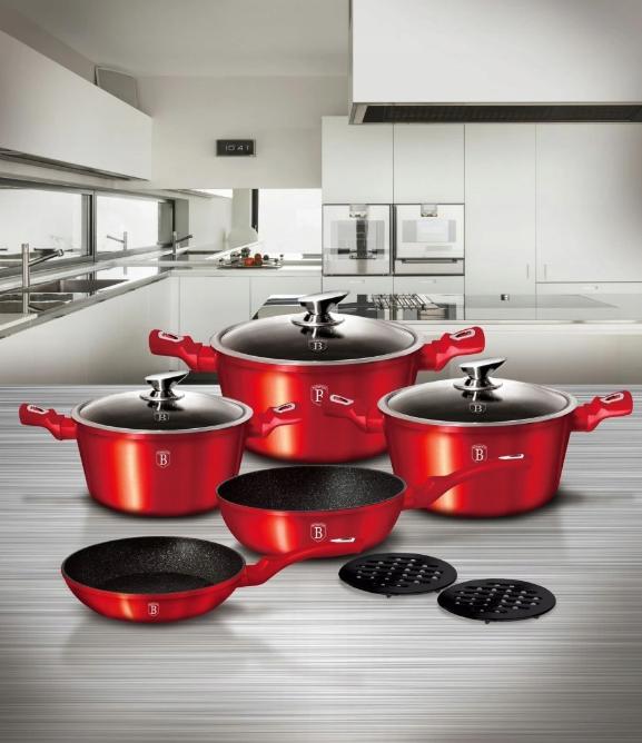 Набір посуду з мармуровим покриттям Bohmann BH 40 - Red/Black