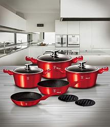 Набор посуды с мраморным покрытием Bohmann BH 40 - Red/Black
