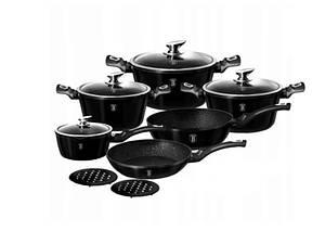 Набір посуду з мармуровим покриттям Bohmann BH 40 - Red/Black Чорний