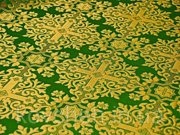 """Церковная ткань """"Никомедия"""", зелёный с золотом"""
