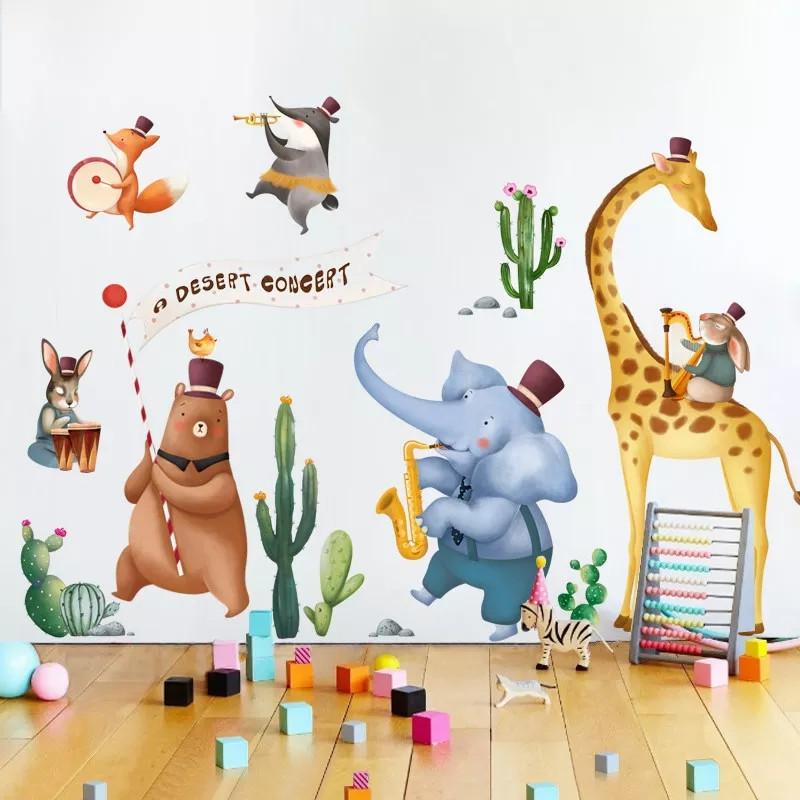 """Наклейка на стену в детскую, на шкаф """"животные музыканты"""" 95см*215см (2листа 60*90см)"""
