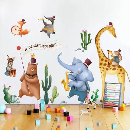 """Наклейка на стену в детскую, на шкаф """"животные музыканты"""" 95см*215см (2листа 60*90см), фото 2"""
