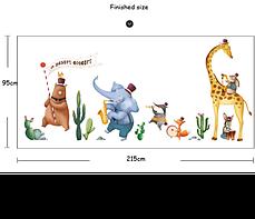 """Наклейка на стену в детскую, на шкаф """"животные музыканты"""" 95см*215см (2листа 60*90см), фото 3"""