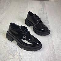 Женские кожаные лаковые туфли на шнуровке 36-41 р чёрный, фото 1