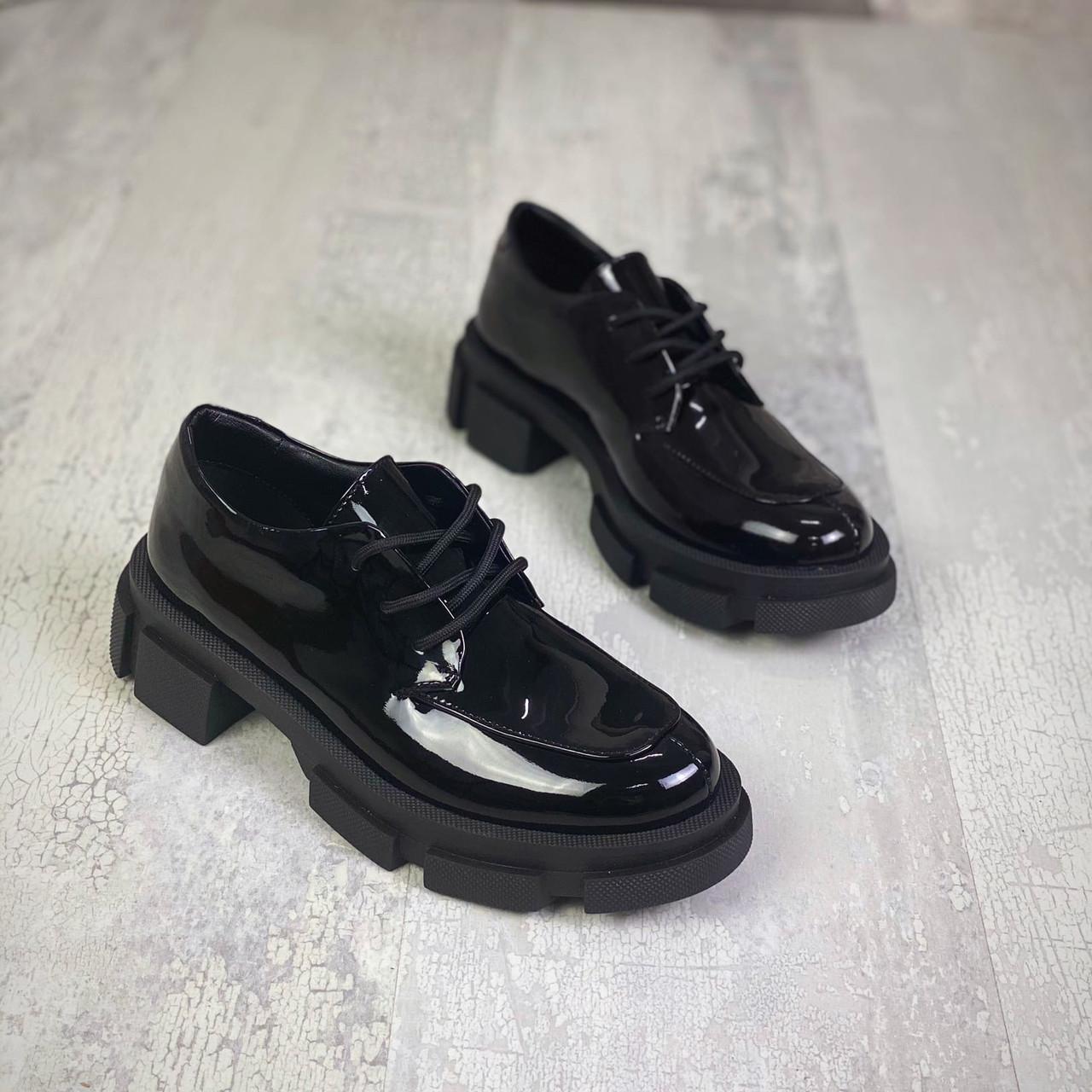 Женские кожаные лаковые туфли на шнуровке 36-41 р чёрный