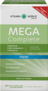 Вітаміни для підлітків Vitamin World Mega Complete Vitamins for Teens 120 капс.