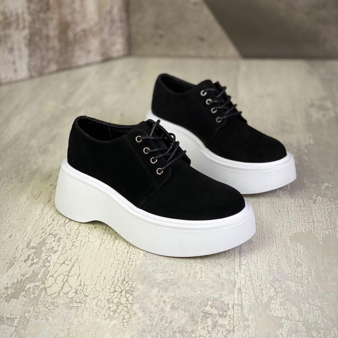 Женские  замшевые туфли на шнуровке 36-40 р чёрный