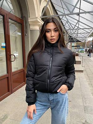 Модная короткая черная куртка женская