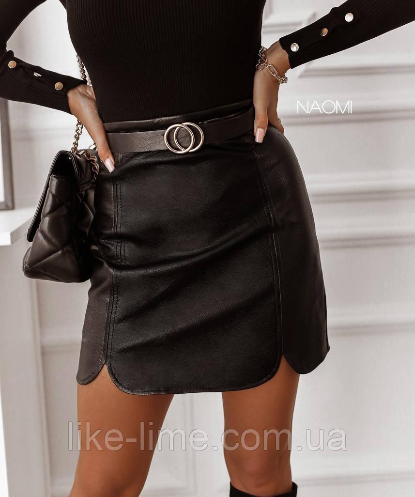 Женская красивая кожаная юбка