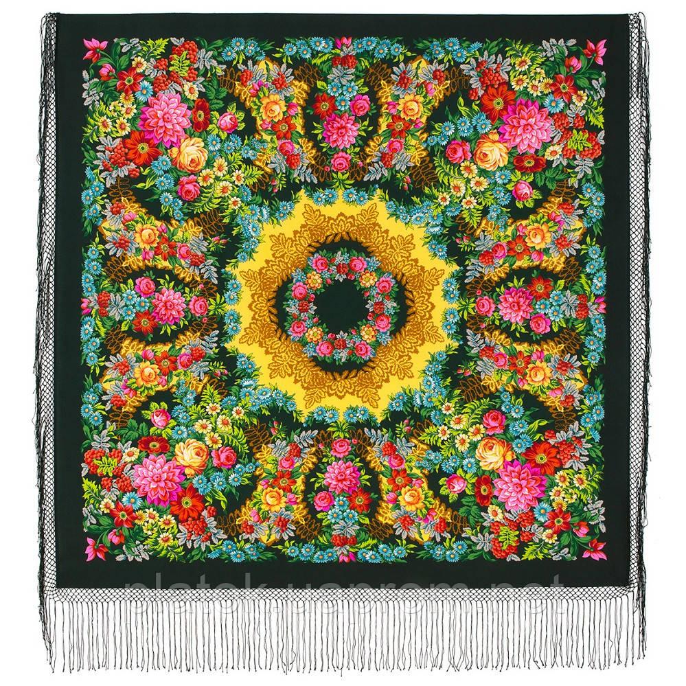 Рябінушка 385-10, павлопосадский хустку (шаль) з ущільненої вовни з шовковою бахромою в'язаній