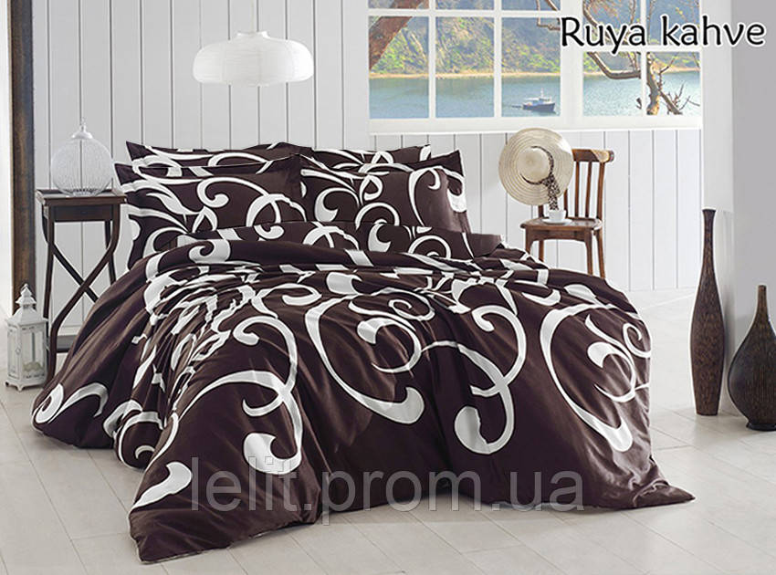 Евро комплект постельного белья Ruya kahve