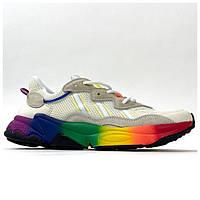 Мужские кроссовки Adidas Ozweego Gray Rainbow, разноцветные кроссовки адидас озвиго