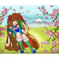 Картина раскраска на холсте Пелюстки сакури 25х35см Идейка 7123/3 набор для росписи, краски, кисти, холст
