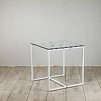 Стол журнальный Куб 400/450 стекло 10 мм прозрачное - белый (Cub 400/450 clear8-white)