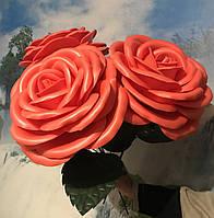 Роза красная на 8 марта Ростовые цветы из изолона, фото 1
