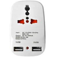 Сетевой разветвитель тройник Travel Adaptor 823 c 2 USB 7043