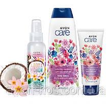 Подарунковий жіночий набір для тіла з маслом кокоса AVON CARE Naturals у весняному дизайні до 8 березня