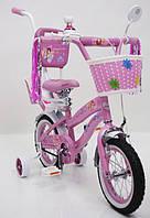 Розовый детский велосипед с корзинкой Princess-Rueda от 2 лет