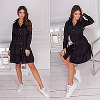 Модное платье на кнопках , весна 2021 : чёрный , белый , бежевый , хаки , розовый 42 44 46 48 50 52 54