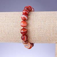 Браслет Агат глазковый светло коричневый гладкий шарик d-10мм обхват 18см на резинке купить оптом в интернет