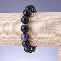 Браслет Агат глазковый фиолетовый гладкий шарик d-12мм обхват 18см на резинке купить оптом в интернет магазине