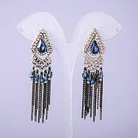 Серьги в восточном стиле с синими кристаллами L-70мм купить оптом в интернет магазине