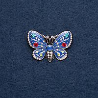 """Брошь """"Бабочка"""" синяя эмаль 25х38мм цвет металла """"золото"""" купить оптом в интернет магазине"""