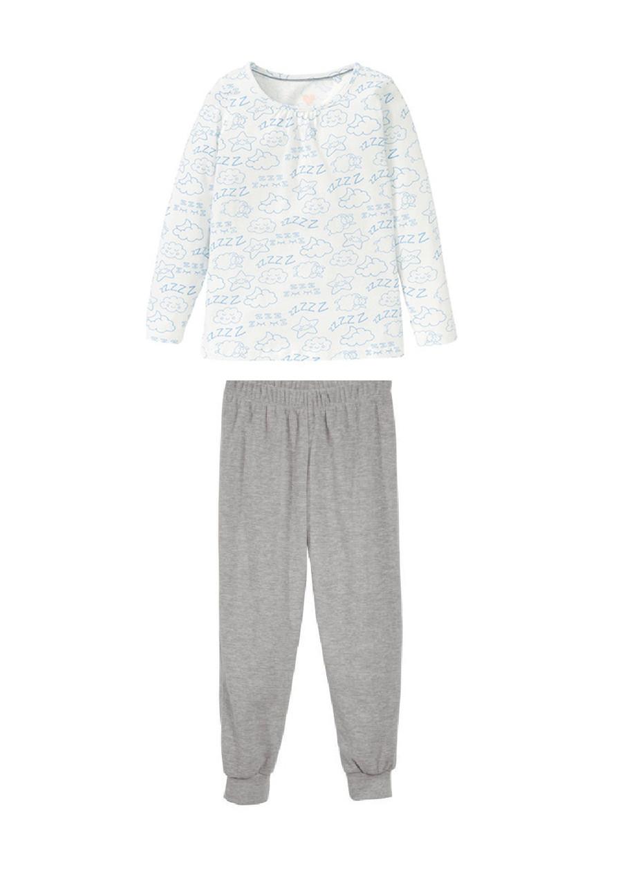 Пижама (свитшот, брюки) с принтом для девочки