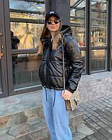 Качественная куртка из эко - кожи на шнуровках , весна 2021 :чёрный , бежевый , кэмел 42 44 46