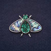 Брошь Мотылек 40х27мм камни цвет зеленый халиотис металл серебристый купить оптом в интернет магазине
