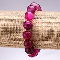 Браслет из натурального камня Агат глазковый гладкий шарик d-12мм L-18см на резинке купить оптом в интернет