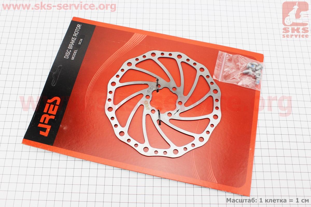 Гальмівний диск 160мм, під 6 болтів, SC16