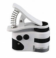 Окуляри Мікроскоп з кліпсою-затиском і usb зарядкою для телефбінокулярні зі світлодіодним підсвічуванням, лупи зі змінними лінзами