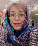 10473-14, павлопосадский платок шерстяной (разреженная шерсть) с швом зиг-заг, фото 10