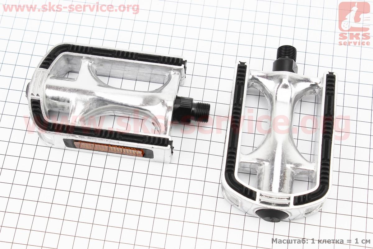 """Педалі CITY 9/16"""" (113x71x25mm) алюмінієві, сріблясто-чорні NWL-266"""