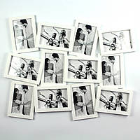 """Фоторамка """"Двенадцать ярких мгновений"""" белая на 12 фото"""