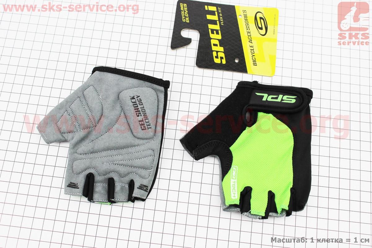 Рукавички без пальців S-чорно-салатові, з гелевими вставками під долоню SBG-1457