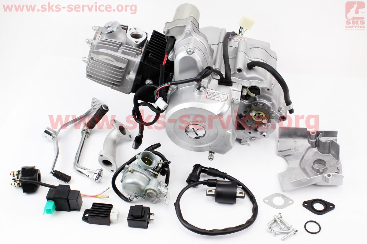 Двигун мопедный в зборі 110куб (Active) - автомат + карбюратор, комутатор, котушка, реле: поворотів, стартера,