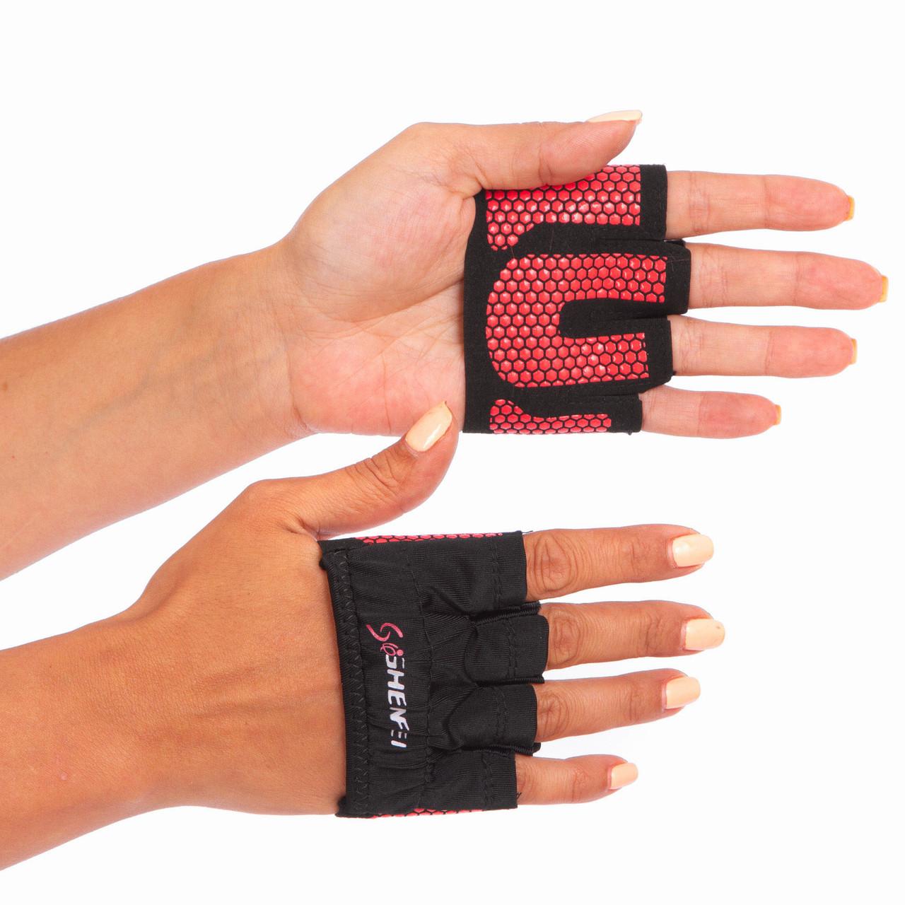 Накладки атлетичні (грипад) для підняття ваги WorkOut рожеві FI-8038, L