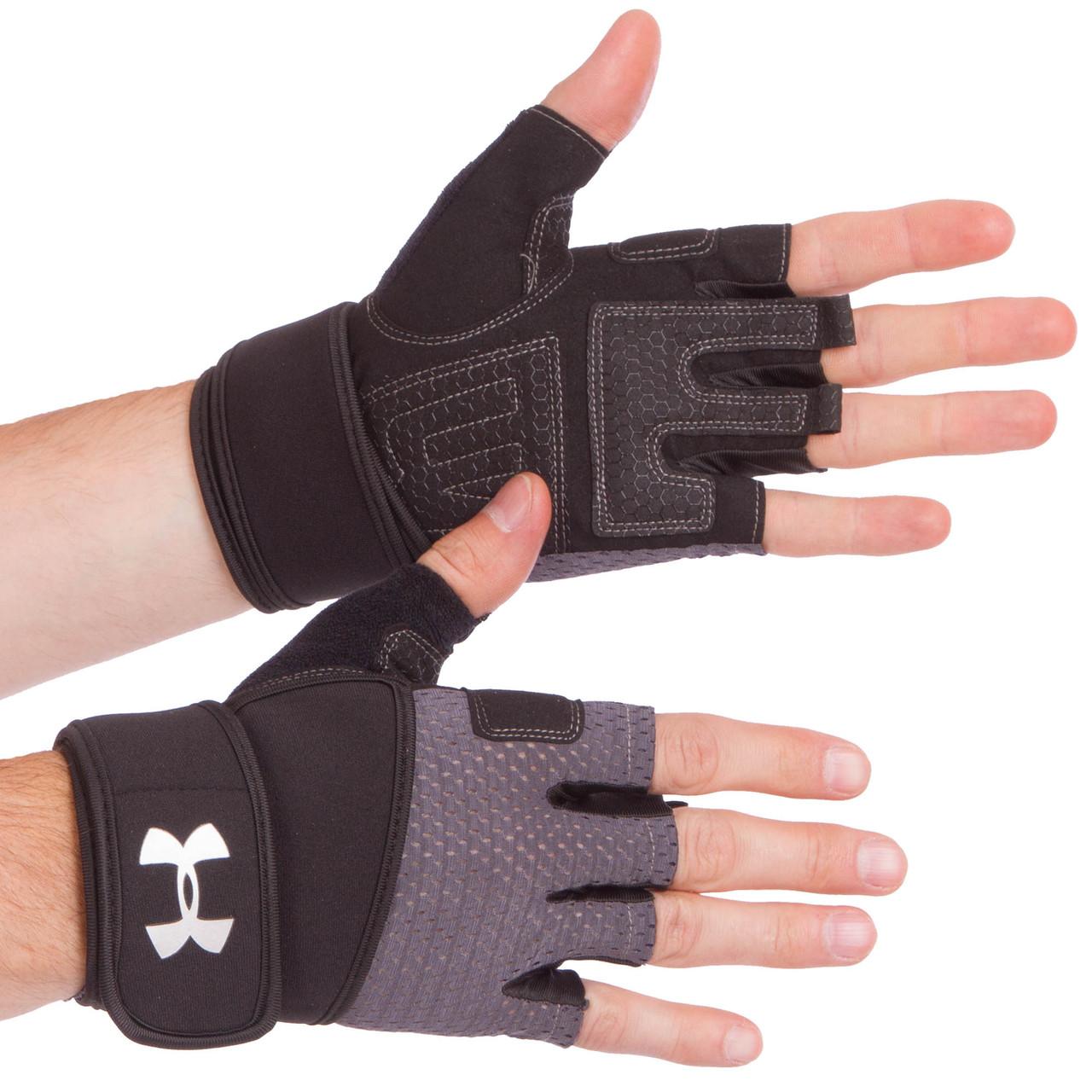 Рукавички для важкої атлетики чорно-сірі ВС-859, L
