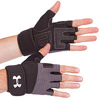 Рукавички для важкої атлетики чорно-сірі ВС-859, L, фото 1