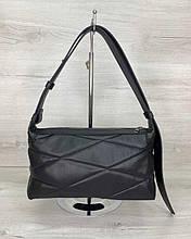 Женская сумка «Догги» черная стеганая Welassie
